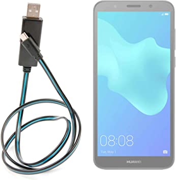 DURAGADGET Cable USB a Micro USB con Flujo de Luces LED de Color Azul. para Smartphone Wiko Y60, Huawei Y5 2019: Amazon.es: Electrónica