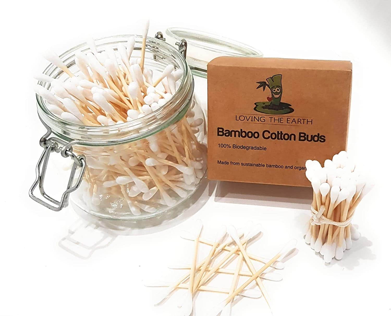 Bamboo Cotton Buds 800 Eco-Friendly 4 Boxes Loving The Earth. Q Tip Cotton Swabs Made from Organically Grown Bamboo /& Cotton 100/% Natural BPA Free Durable /& Compostable Ear Buds
