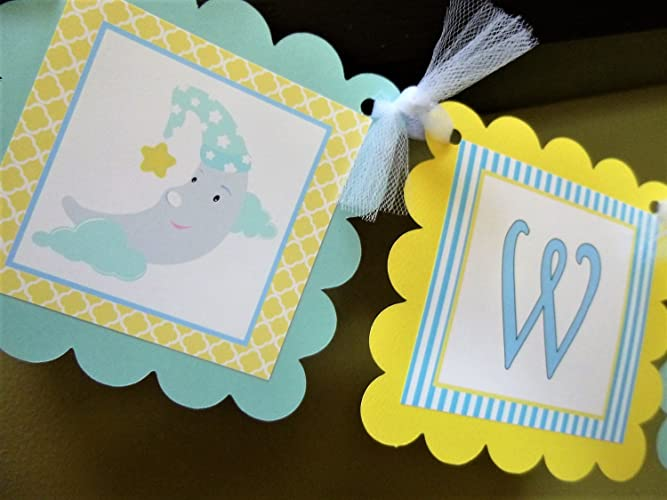 Amazon Light Blue And Yellow Baby Moon And Stars Welcome Baby