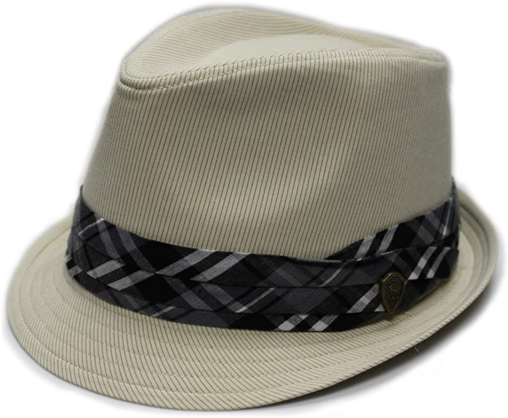 4 Colors City Hunter Pmt580 Pin Stripe with Plaid Band Fedora