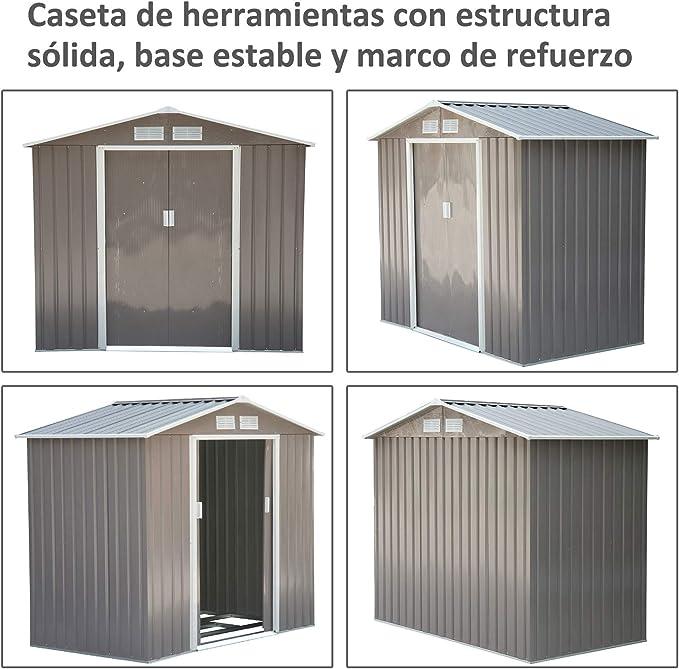 Outsunny Caseta de Jardín Tipo Cobertizo Metálico para ...
