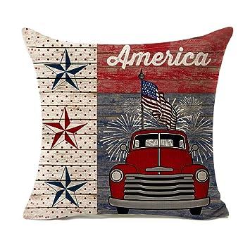 Amazon.com: Be Happy funda de almohada de lino de algodón ...