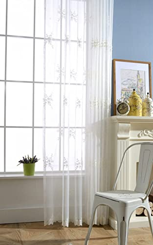 Flower Embroidered Sheer Curtain