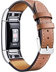 Mornex Strap Compatible Charge 2 Band Leather Strap, Classic Adjustable Replacement Wristband Fitness Accessories Metal Connectors