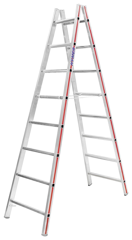 HYMER 402316 Sprossenstehleiter beidseitig begehbar 2x8 Sprossen