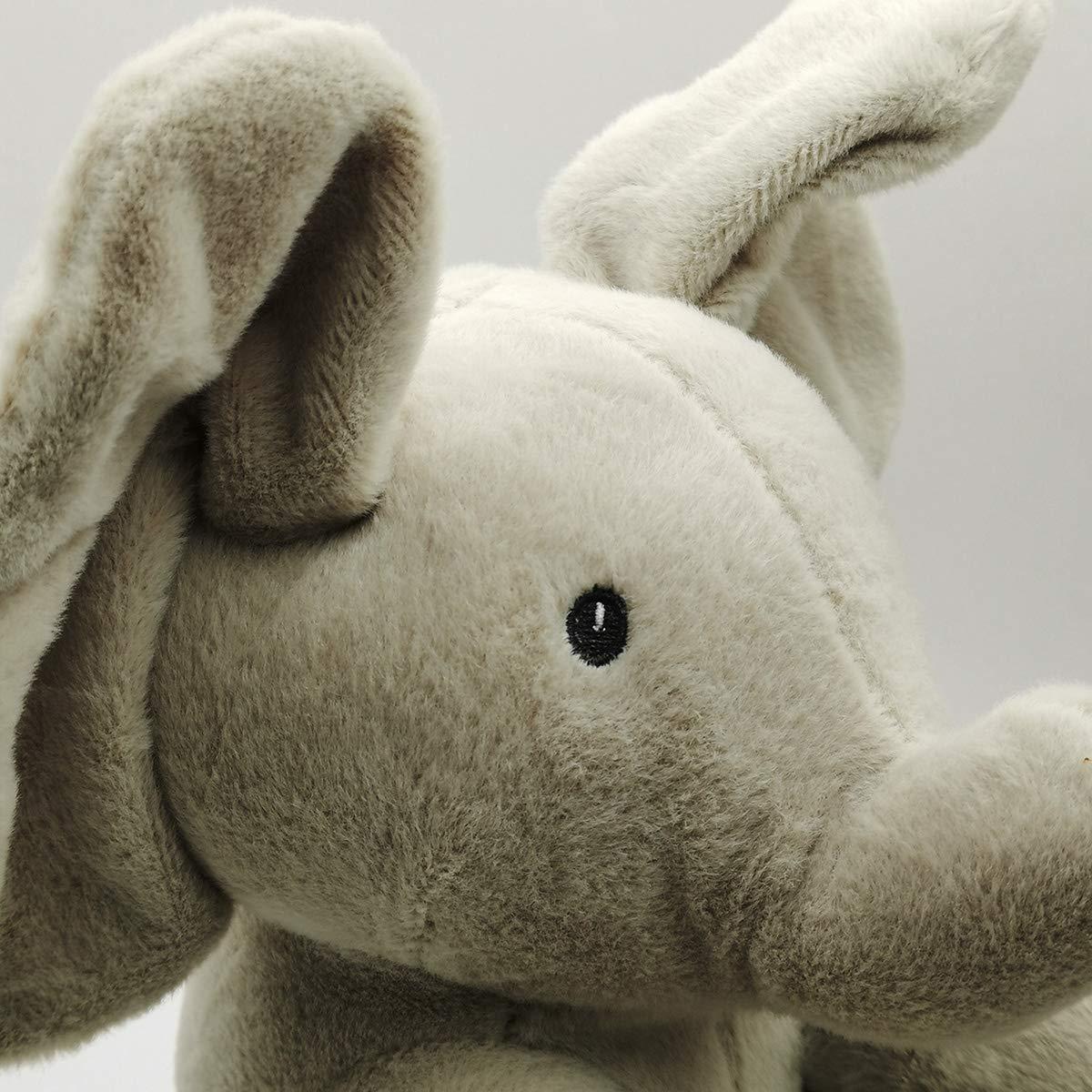 Peek a Boo Teddy Bear Play Hide Seek Elephant Peek-a-Boo Interactive Sing and Play Plush Toy Kids Birthday Xmas Gift Cute Electric Music Bear Plush Toy Bear