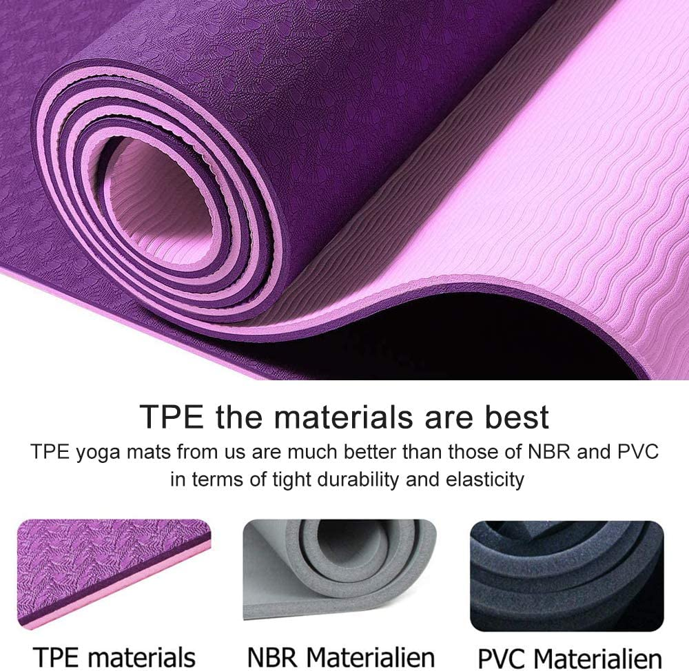 Yoga Mat Eco Friendly TPE Gym Mat with Alignment Lines Textured Non Slip Surface and Optimal Cushioning,Thick Non Slip Workout Mat with Carrying Bag Perfect for Yoga and Fitness 183 * 61 * 0.6cm