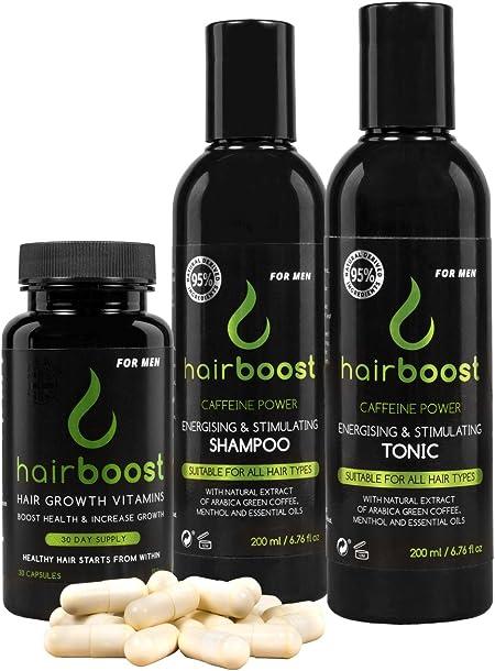 hairboost - Kit con 30 Cápsulas, tónico 200 ml y 200 ml Champú