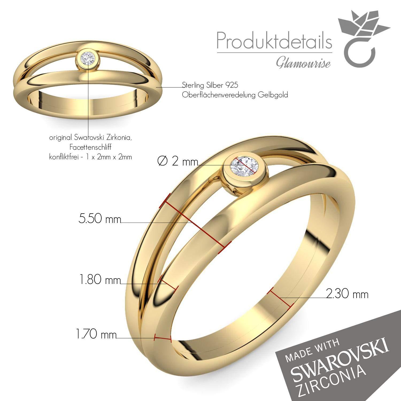 Compromiso anillos oro con Swarovski piedra + estuche! Gold Ring anillo oro circonios tales como el diamante de regalo anillos matrimonio boda compromiso ...