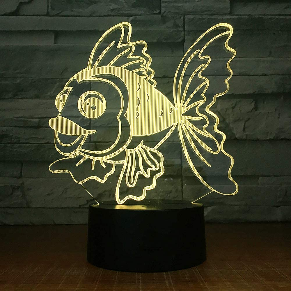 Luces nocturnas 3D wangZJ/Granada de juguete / / Coche / 7 colores cambiantes/Figura de dibujos animados Niños Lámpara de la lámpara de cabecera goldfish: Amazon.es: Iluminación