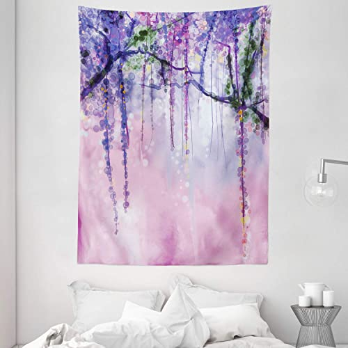 Ambesonne Watercolor Flower Tapestry, Wisteria Flowers on Blurred Background with Dreamy Colors, Wall Hanging for Bedroom Living Room Dorm, 60 X 80 , Pink Purple