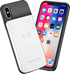 NEWDERY Upgraded iPhone X Xs Battery Case Qi Wireless Charging Compatible, 6000mAh Slim Extended Rechargeable External Charger Case Compatible iPhone X Xs 10 (5.8 Inches White)