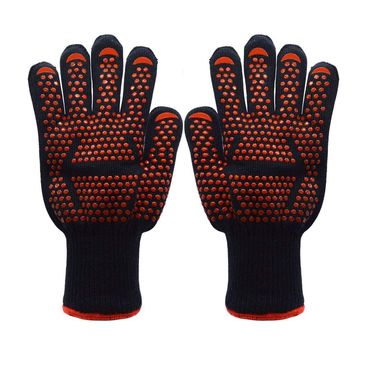 ZJYSM Comfortable, Wearable, Flexible, Lightweight, 500/800 Degree Cut Resistant, High Temperature Resistant Gloves, Anti-fire, Non-discoloring BBQ Barbecue Gloves Gloves