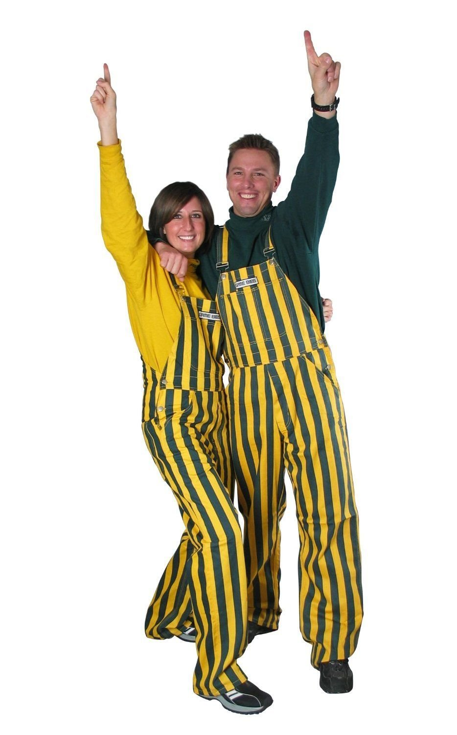 Game Bibs Adult Green & Yellow Striped Overalls