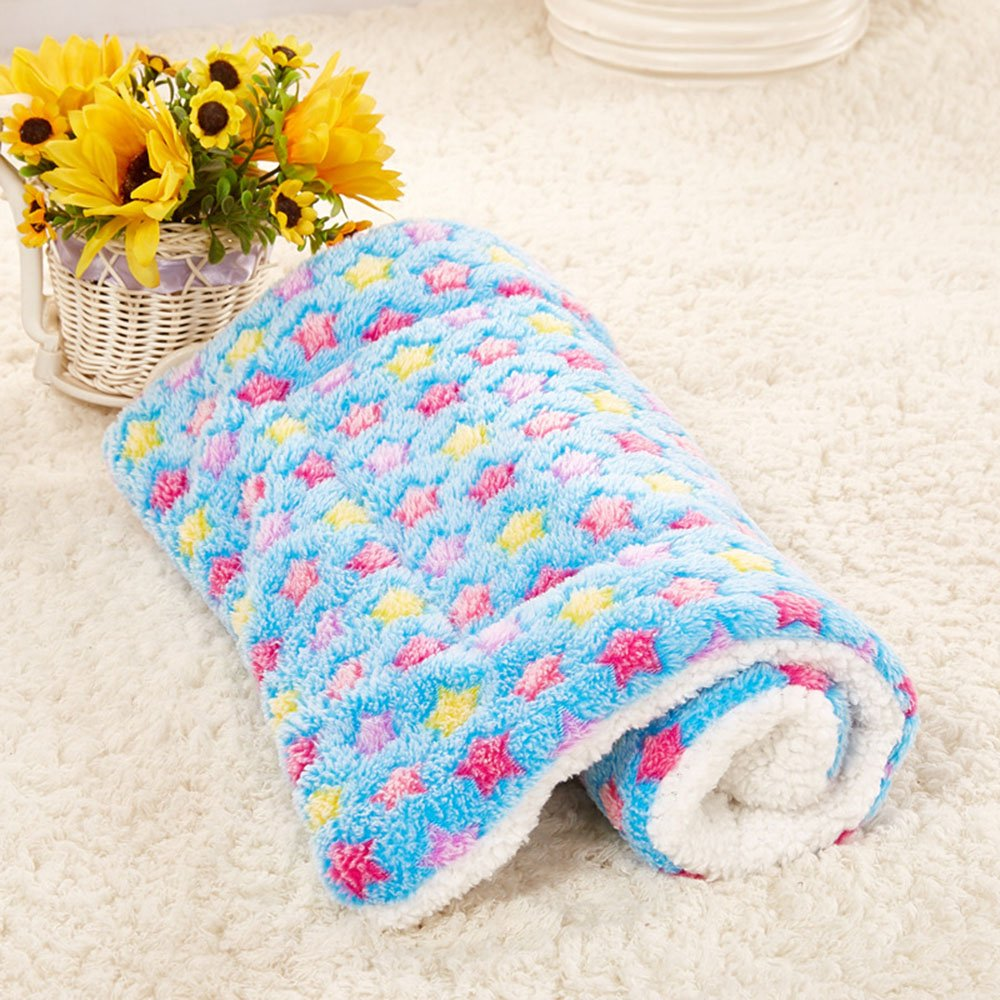 Daisy1993 Star Print Ultra Soft Coral Fleece Pet Sleeping Bed Mat Blanket for Cats and Dogs (M(19.6''x19.6''), Blue)