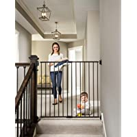 Regalo 2-in-1 Extra Tall Easy Swing Stairway and Hallway Walk Through Baby Gate, Black