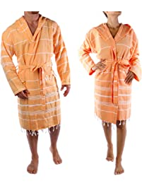 Cacala Hooded Bathrobe Pestemal Fabric 100% Turkish Cotton Kimono Unisex