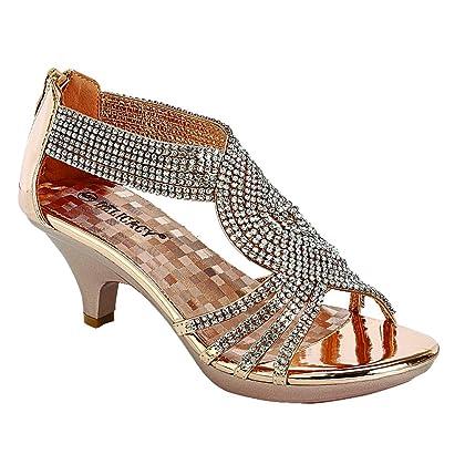 191b99c250c5 Delicacy Angel-62 Womens Strappy Rhinestone Dress Sandal Low Heel Shoes