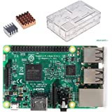 RPi3 本体+ケース+ヒートシンク セット Raspberry Pi 3 Model B+ヒートシンク銅の一つアルミの一つ+クリアケース 3in1キット (透明ケース)