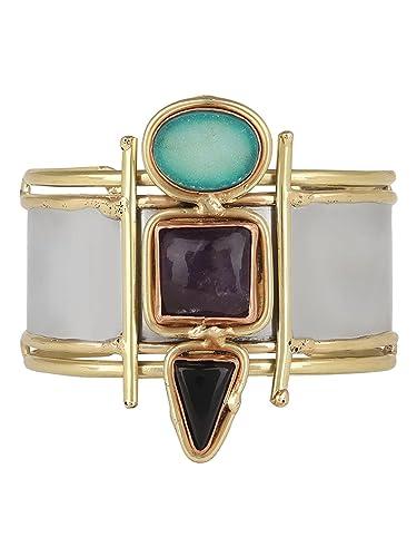 Fashion Jewelry Black Onyx With Amethyst Gemstone Handmade Bracelet Cuff