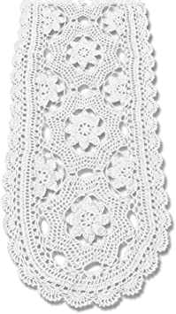 Vintage Handarbeit Häkel Spitze Tischläufer Deckchen Baumwolle Hochzeit Party