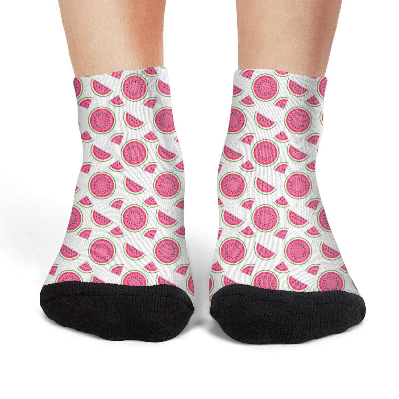 Mens athletic low cut Ankle sock Sweet Watermelon Fruit White Short Casual Sock