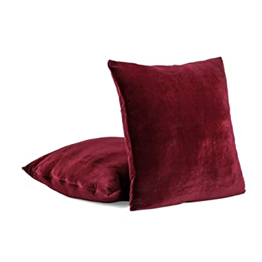 Super Soft Velvet Decorative Euro Pillow Cover with Zipper - 26  X 26  - Wine (Set of 2)