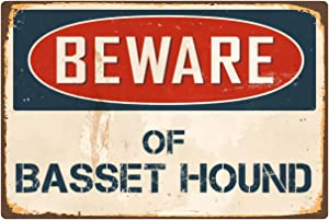 "StickerPirate Beware of Basset Hound 8"" x 12"" Vintage Aluminum Retro Metal Sign VS038"