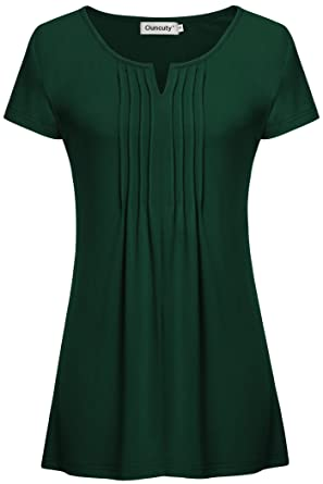 610e18c20eb9 Ouncuty Summer Womens Pleated Front Short Sleeve V Neck Vintage Knit ...