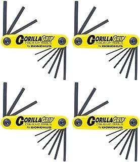 product image for Bondhus 12591 GorillaGrip Set of 9 Hex Fold-up Keys, sizes .050-3/16-Inch - 4 Pack