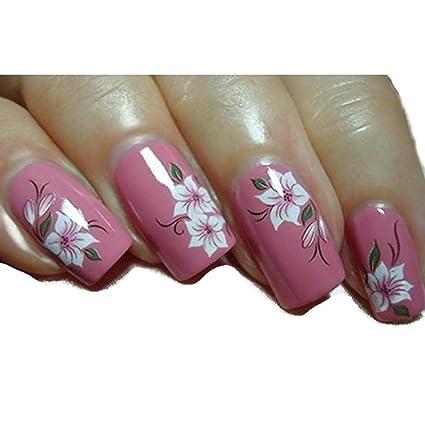 Elegant Red White Lotus Flower Daisy Nail Art Stickers Water
