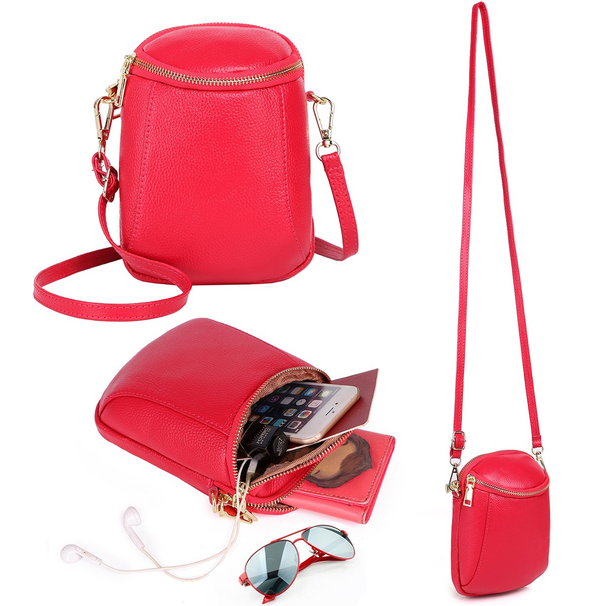 Zg Small Crossbody Purse for Women, Cell Phone Purse Crossbody Fits for IPhone 6 6S 7 8 Plus and Samsung Galaxy S7 S8 Edge Multi-Functional As Backpack