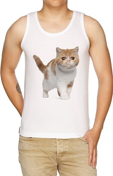 Vendax Persa Gato De Tirantes Camiseta Hombre Blanco: Amazon.es: Ropa y accesorios