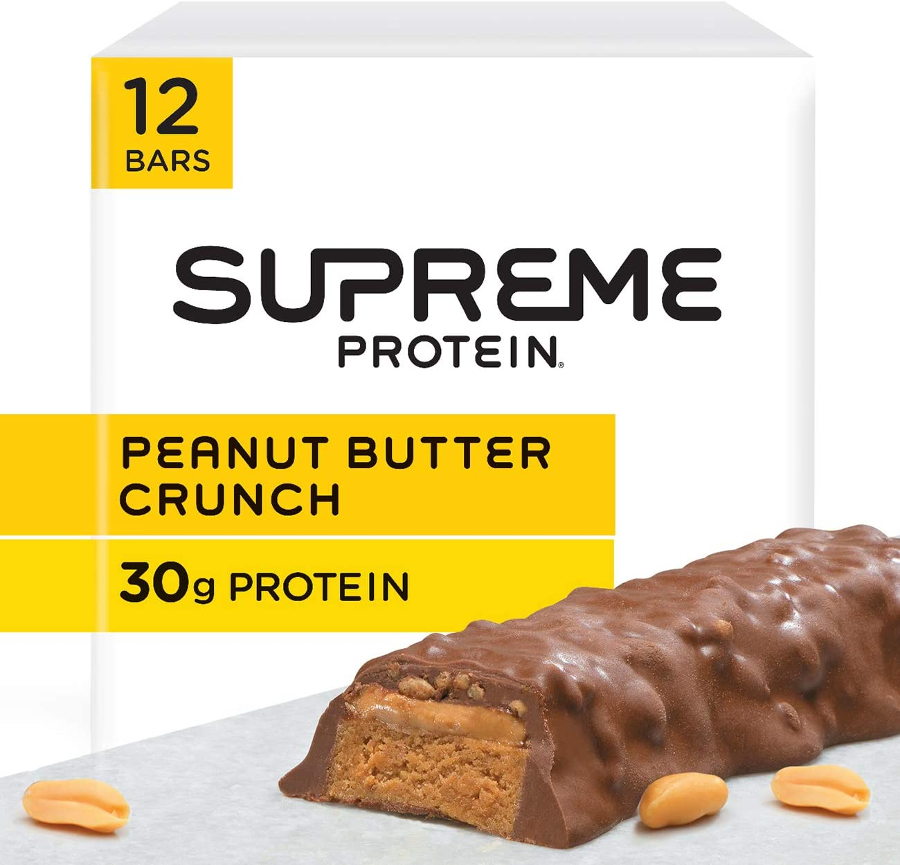 Supreme Protein 30g Protein Bar, Peanut Butter Crunch, 3 Ounce Bars, 12 Count