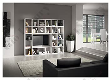 Giò Luxury Ensemble Salon Composé De Bibliothèque Meuble Tv Blanc