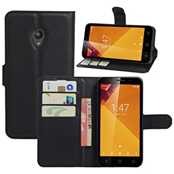 HualuBro Funda Vodafone Smart Turbo 7, [Protección Todo Alrededor] Premium PU Cuero Leather Billetera Wallet Carcasa Case Flip Cover para Vodafone Smart ...
