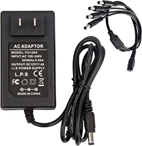 AC 100-240V to DC 12V 4A Power Supply Adapter 48W Transformer Charger 12V/4A with 4 Way 4-Way Power Splitter Cable 4CH Y Splitter Bundle for CCTV Home Security Camera Surveillance System