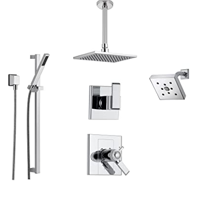 Delta Arzo Chrome Shower System with Thermostatic Shower Handle, 6 ...