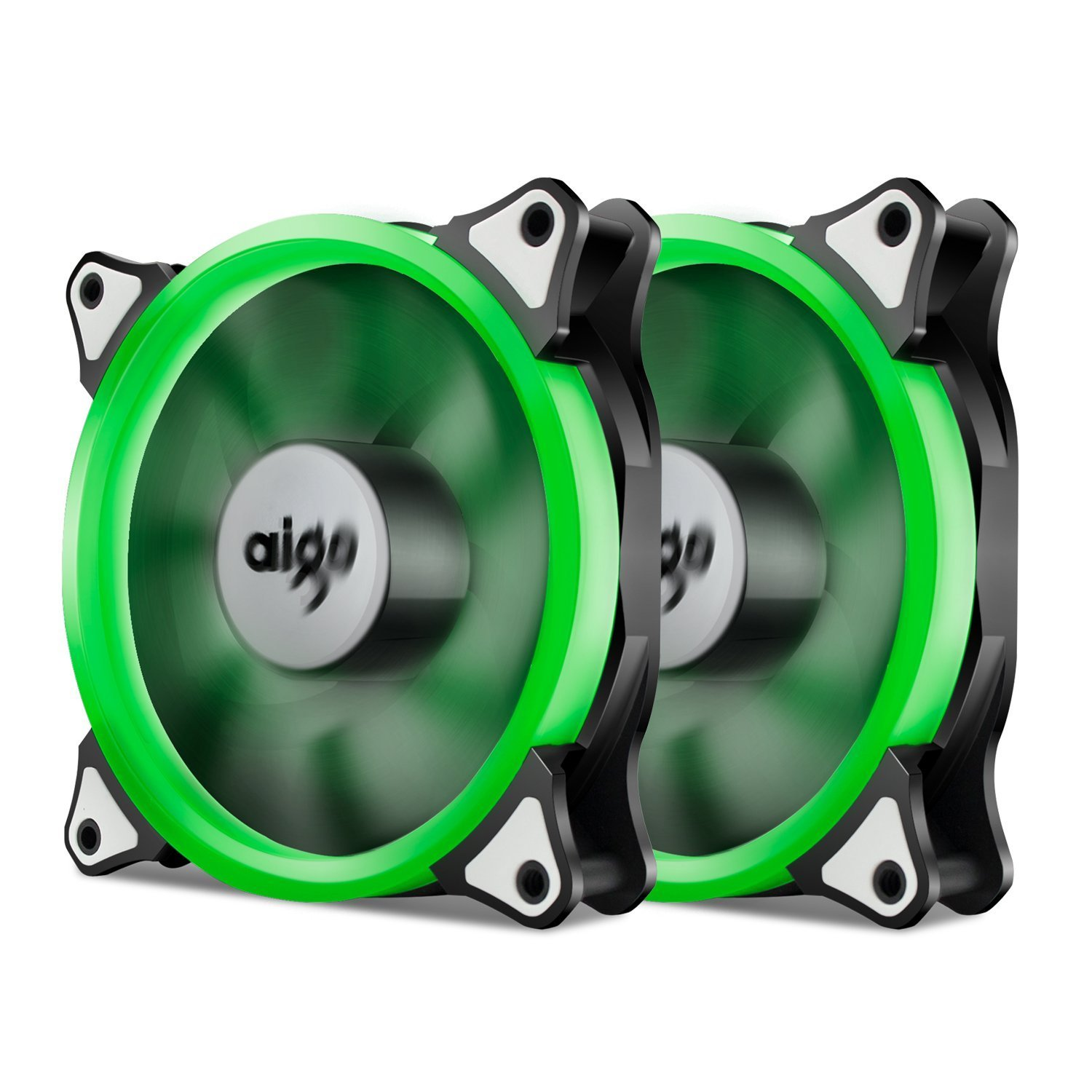 Aigo, Halo LED 120mm 12cm PC CPU Computer Case Cooling Neon Quite Clear Fan Mod 4 Pin/3 Pin (2 Pack Green)