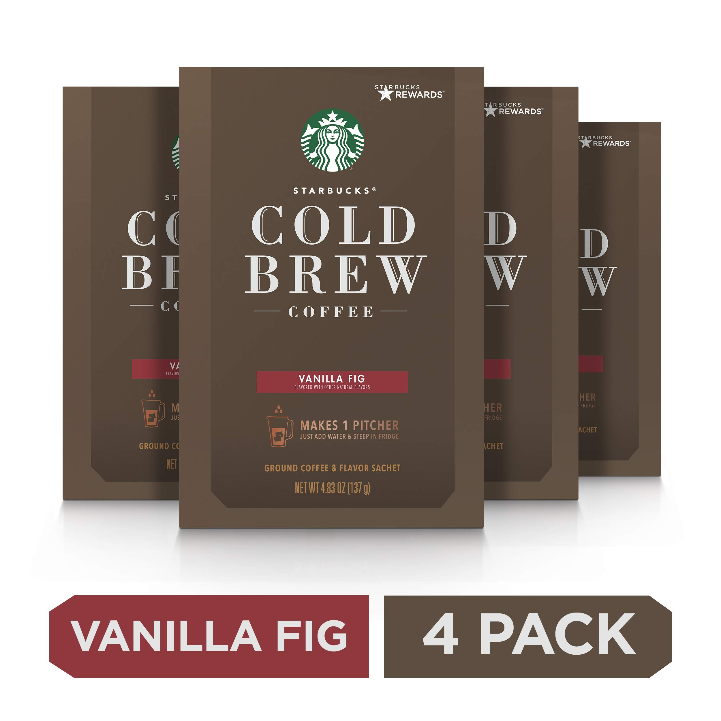 Starbucks Vanilla Fig Flavored Cold Brew Coffee, Medium Roast Coffee, Four Boxes of 8.6 Oz., 4 boxes make 4 pitchers