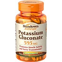 Sundown Naturals Potassium Gluconate, 595 mg, Caplets, 100 ct (Pack of 3)
