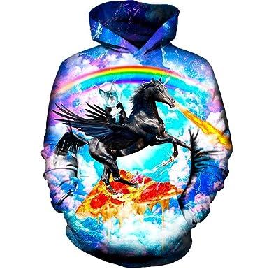 5ab2446800ff Men Women Casual Pizza Dog Horse Print Cool 3D Hoodie Sweatshirt Autumn  Winter Pullover Outdoor Sport