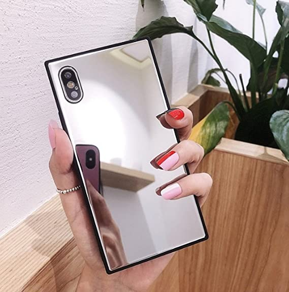 big sale 53db0 1b520 iPhone X Case,Luoming Holographic Cool Sparkle Bling Glitter Shiny Aurora  Luxury Square Glass Glossy Mirror Shockproof Smooth Hard Case for iPhone X  ...