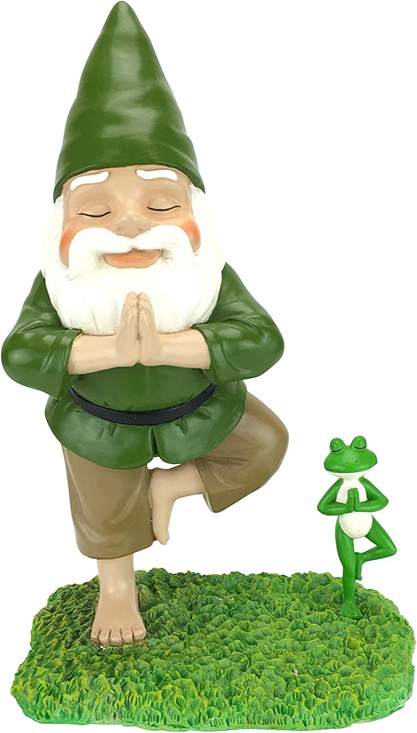"GlitZGlam Zen Gnome and Zen Frog - Tree Pose– Tranquility and Peacefulness for Your Fairy Garden and Garden Gnomes A Large 11"" Inches Tall Miniature Gnome Figurine"