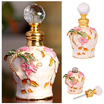 d83fc61f8e3b YU FENG 5ml Decorative Glass Perfume Bottles with Metal Outer Covering of  Hand-Paint Enameled Dragonfly Figurine for Women or Girls