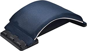 Multi-Level Magic Back Stretching Device with Memory Foam Cushion,Back Lumbar Support For Office Chair and Car Lumbar Traction Device for Back Pain Relief(Dark Blue/White)