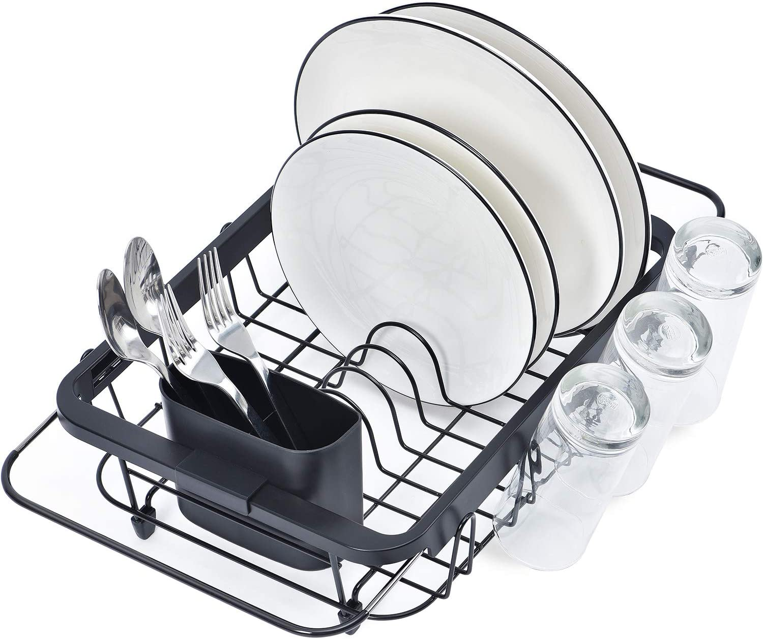 TOOLF Expandable Dish Drying Rack Over the Sink Adjustable Dish Rack In Sink Or On Counter Dish Drainer with Utensil Holder Rustproof for Kitchen