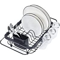 Kingrack Dish Sink Drainer, Dish Drying Rack Over Sink, Extendable Dish Drainer Black with Removable Cutlery Holder…