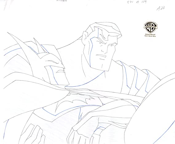 Justice League Of America Superman Batman Production Animation Cel Drawing From Warner Brothers From Episode One 284 At Amazon S Entertainment Collectibles Store Learn how to draw superman cartoon pictures using these outlines or print just for coloring. justice league of america superman