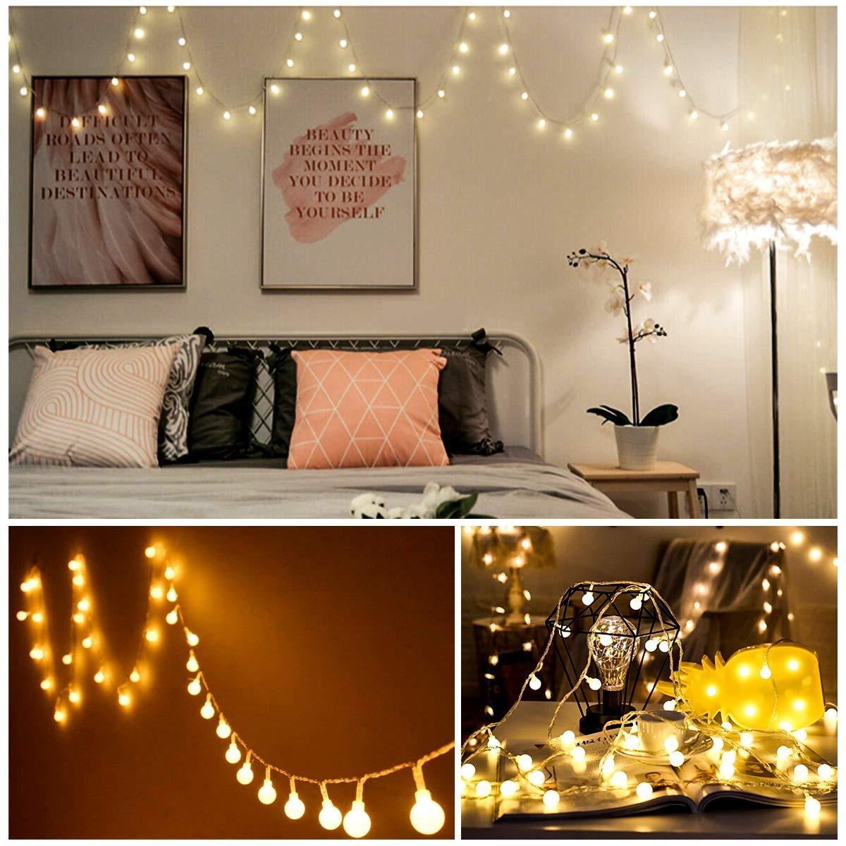 LOBKIN Batteriebetriebene Lichterketten, 50 LED 5m 8-Mode-Terrassenleuchten, Fernbedienung, wasserdicht und dimmbar, Kristallkugel-Lichterketten für Hochzeit, Party, Weihnachtsdekoration